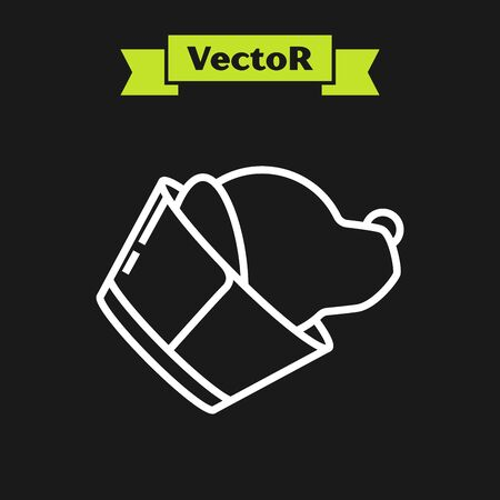White line Veterinary clinic symbol icon isolated on black background. Dog veterinary care. Pet First Aid sign. Vector Illustration
