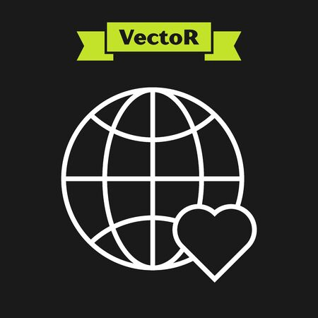 White line The heart world - love icon isolated on black background. Vector Illustration