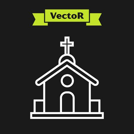 White line Church building icon isolated on black background. Christian Church. Religion of church. Vector Illustration