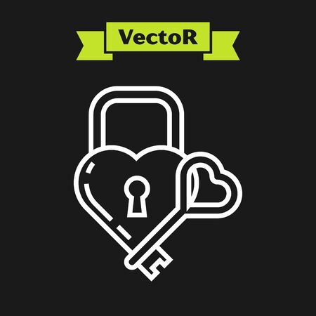 White line Castle in the shape of a heart and key icon isolated on black background. Locked Heart. Love symbol and keyhole sign. Vector Illustration