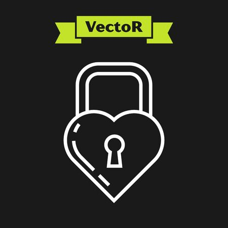 White line Castle in the shape of a heart icon isolated on black background. Locked Heart. Love symbol and keyhole sign. Vector Illustration