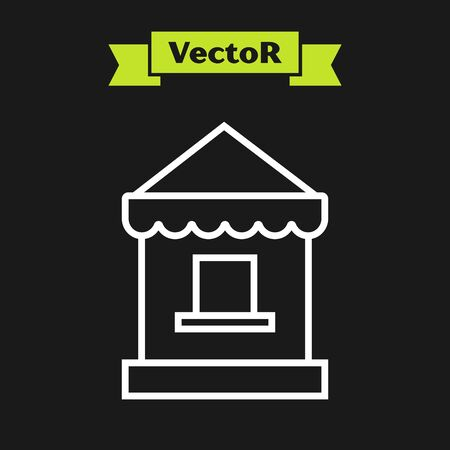 White line Ticket box office icon isolated on black background. Ticket booth for the sale of tickets for attractions and sports. Vector Illustration 일러스트