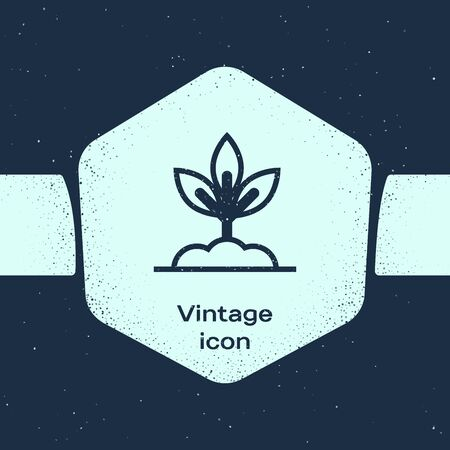 Grunge line Plant icon isolated on blue background. Seed and seedling. Leaves sign. Leaf nature. Monochrome vintage drawing. Vector Illustration