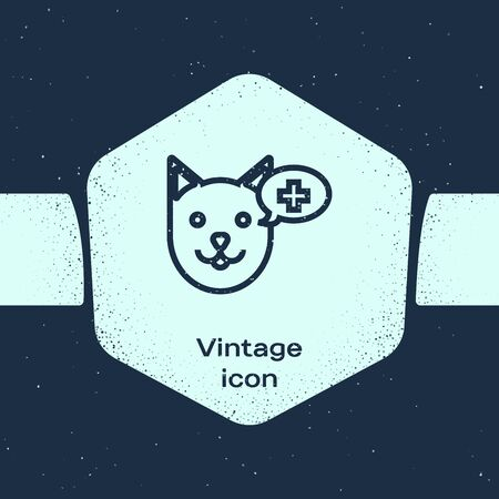 Grunge line Veterinary clinic symbol icon isolated on blue background. Cross with dog veterinary care. Pet First Aid sign. Monochrome vintage drawing. Vector Illustration