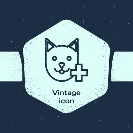Grunge line Veterinary clinic symbol icon isolated on blue background. Cross with cat veterinary care. Pet First Aid sign. Monochrome vintage drawing. Vector Illustration