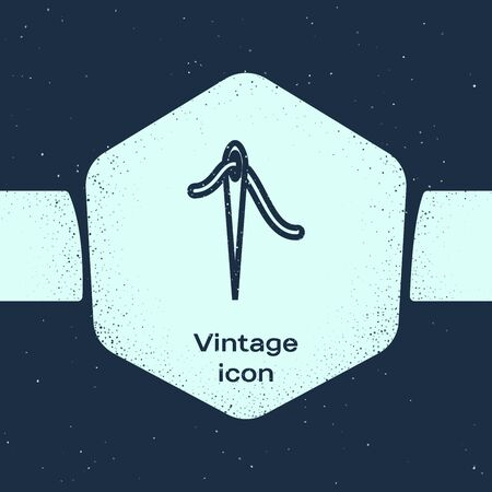 Grunge line Needle for sewing with thread icon isolated on blue background. Tailor symbol. Textile sew up craft sign. Embroidery tool. Monochrome vintage drawing. Vector Illustration Ilustração