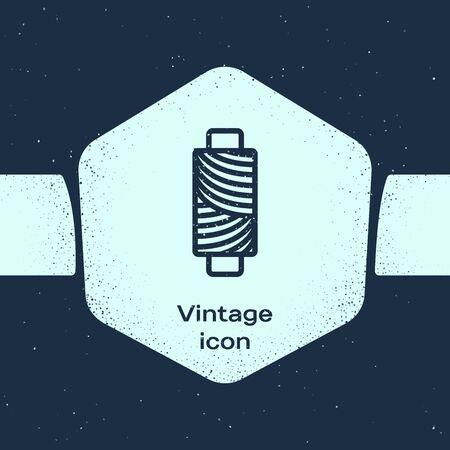 Grunge line Sewing thread on spool icon isolated on blue background. Yarn spool. Thread bobbin. Monochrome vintage drawing. Vector Illustration