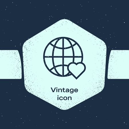 Grunge line The heart world - love icon isolated on blue background. Monochrome vintage drawing. Vector Illustration