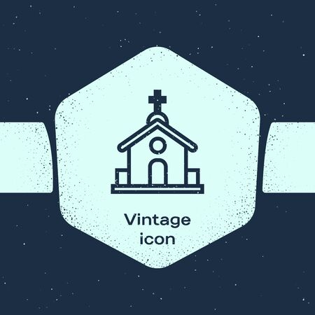Grunge line Church building icon isolated on blue background. Christian Church. Religion of church. Monochrome vintage drawing. Vector Illustration