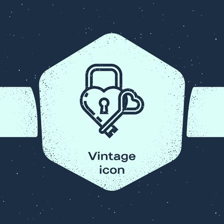 Grunge line Castle in the shape of a heart and key icon isolated on blue background. Locked Heart. Love symbol and keyhole sign. Monochrome vintage drawing. Vector Illustration