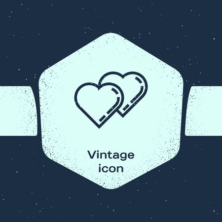 Grunge line Two Linked Hearts icon isolated on blue background. Romantic symbol linked, join, passion and wedding. Valentine day symbol. Monochrome vintage drawing. Vector Illustration Çizim