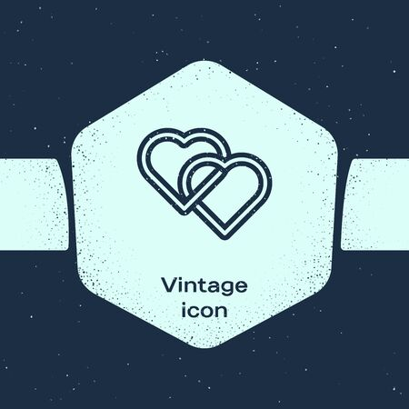 Grunge line Two Linked Hearts icon isolated on blue background. Romantic symbol linked, join, passion and wedding. Valentine day symbol. Monochrome vintage drawing. Vector Illustration Ilustração