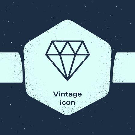 Grunge line Diamond icon isolated on blue background. Jewelry symbol. Gem stone. Monochrome vintage drawing. Vector Illustration Illustration