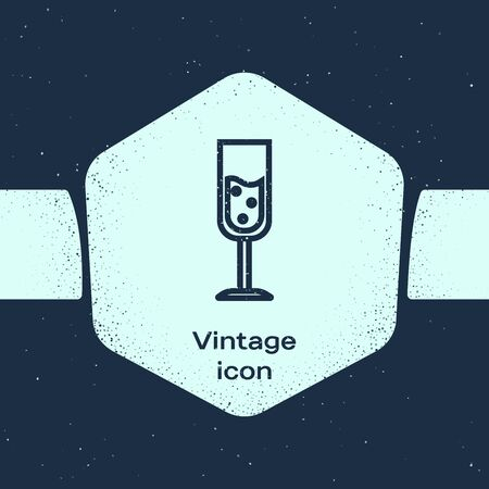 Grunge line Glass of champagne icon isolated on blue background. Monochrome vintage drawing. Vector Illustration