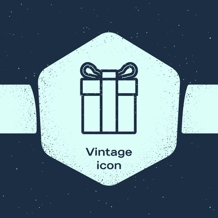 Grunge line Gift box icon isolated on blue background. Monochrome vintage drawing. Vector Illustration