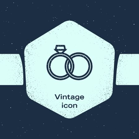 Grunge line Wedding rings icon isolated on blue background. Bride and groom jewelery sign. Marriage icon. Diamond ring icon. Monochrome vintage drawing. Vector Illustration