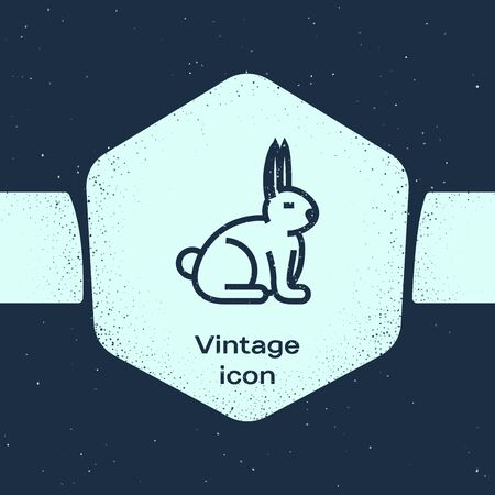 Grunge line Rabbit icon isolated on blue background. Monochrome vintage drawing. Vector Illustration