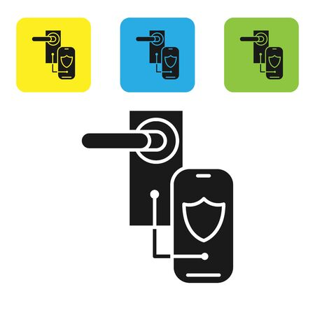 Black Digital door lock with wireless technology for lock icon isolated on white background. Door handle sign. Security smart home. Set icons colorful square buttons. Vector Illustration Ilustração
