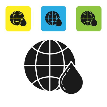 Black Honeycomb map of the world icon isolated on white background. World bee day. Concept ecological event. Set icons colorful square buttons. Vector Illustration