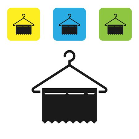 Black Hanger wardrobe icon isolated on white background. Clean towel sign. Cloakroom icon. Clothes service symbol. Laundry hanger sign. Set icons colorful square buttons. Vector Illustration Stock Illustratie