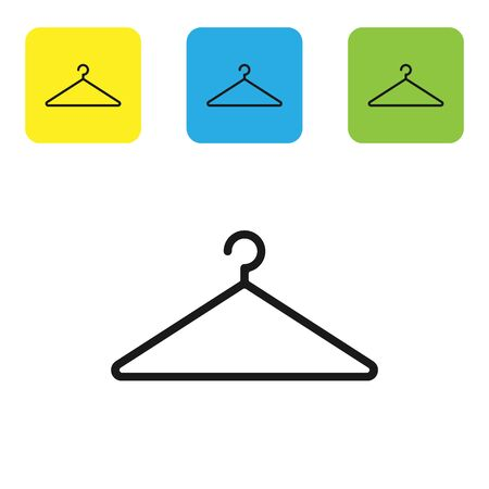 Black Hanger wardrobe icon isolated on white background. Cloakroom icon. Clothes service symbol. Laundry hanger sign. Set icons colorful square buttons. Vector Illustration