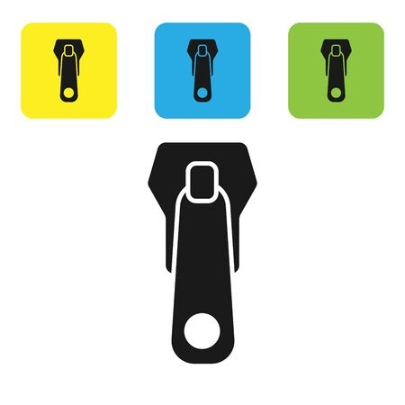Black Zipper icon isolated on white background. Set icons colorful square buttons. Vector Illustration