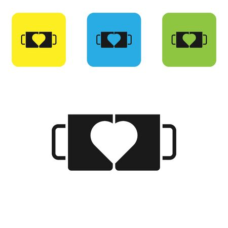 Black Two coffee cup and heart icon isolated on white background. Couple coffee for lovers on Valentines Day. Set icons colorful square buttons. Vector Illustration