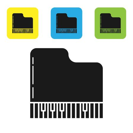 Black Grand piano icon isolated on white background. Musical instrument. Set icons colorful square buttons. Vector Illustration