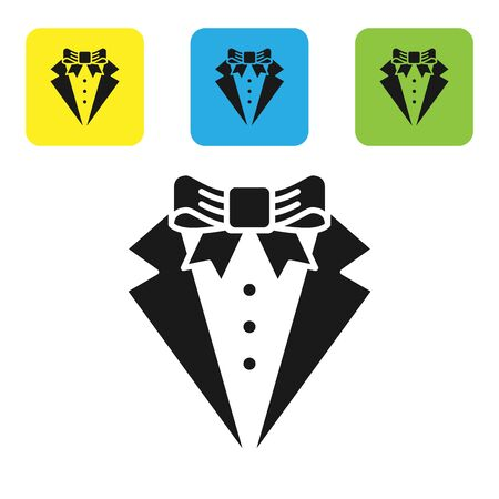 Black Suit icon isolated on white background. Tuxedo. Wedding suits with necktie. Set icons colorful square buttons. Vector Illustration Иллюстрация