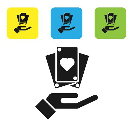 Black Hand holding playing cards icon isolated on white background. Casino game design. Set icons colorful square buttons. Vector Illustration