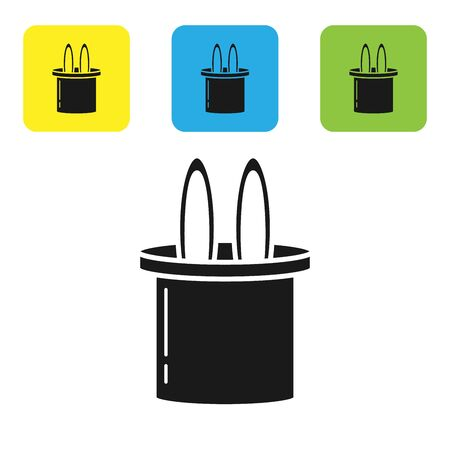 Black Magician hat and rabbit ears icon isolated on white background. Magic trick. Mystery entertainment concept. Set icons colorful square buttons. Vector Illustration