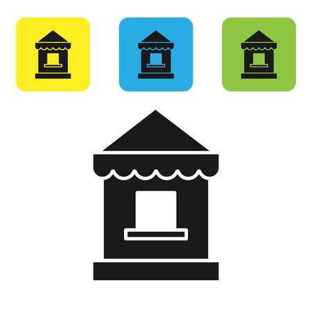 Black Ticket box office icon isolated on white background. Ticket booth for the sale of tickets for attractions and sports. Set icons colorful square buttons. Vector Illustration
