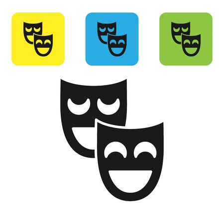Black Comedy theatrical masks icon isolated on white background. Set icons colorful square buttons. Vector Illustration Imagens - 128911613