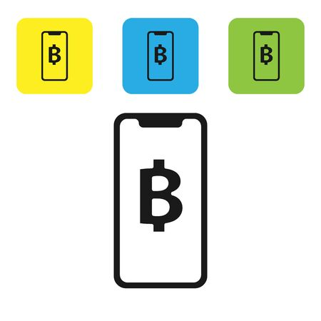 Black Phone mobile and cryptocurrency coin Bitcoin icon isolated on white background. Physical bit coin. Blockchain based secure crypto currency. Set icons colorful square buttons. Vector Illustration