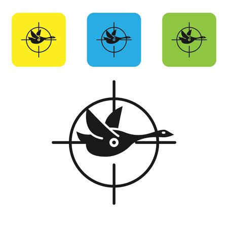 Black Hunt on duck with crosshairs icon isolated on white background. Hunting club with duck and target. Rifle lens aiming a duck. Set icons colorful square buttons. Vector Illustration