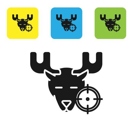 Black Hunt on moose with crosshairs icon isolated on white background. Hunting club   with moose and target. Rifle lens aiming a moose. Set icons colorful square buttons. Vector Illustration