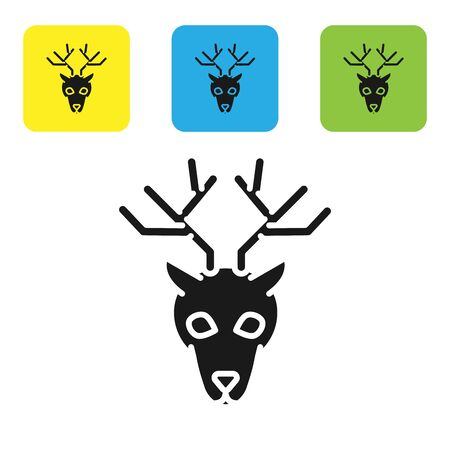 Black Deer head with antlers icon isolated on white background. Set icons colorful square buttons. Vector Illustration Illustration