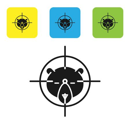 Black Hunt on bear with crosshairs icon isolated on white background. Hunting club   with bear and target. Rifle lens aiming a bear. Set icons colorful square buttons. Vector Illustration Illustration