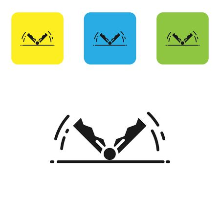 Black Trap hunting icon isolated on white background. Set icons colorful square buttons. Vector Illustration 版權商用圖片 - 128934608