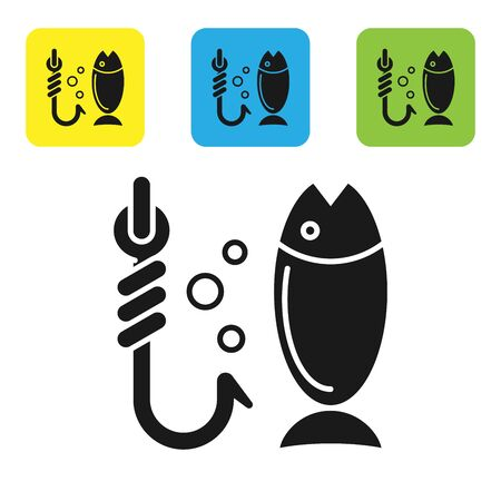 Black Fishing icon isolated on white background. Fish and hook. Strategy concept. Bait sign. Set icons colorful square buttons. Vector Illustration  イラスト・ベクター素材