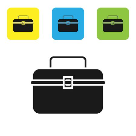 Black Case or box container for wobbler and gear fishing equipment icon isolated on white background. Fishing tackle. Set icons colorful square buttons. Vector Illustration Ilustração