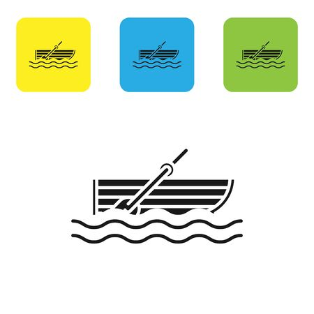 Black Fishing boat with oars on water icon isolated on white background. Set icons colorful square buttons. Vector Illustration