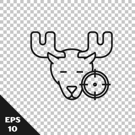 Black line Hunt on moose with crosshairs icon isolated on transparent background. Hunting club   with moose and target. Rifle lens aiming a moose. Vector Illustration