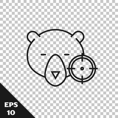 Black line Hunt on bear with crosshairs icon isolated on transparent background. Hunting club   with bear and target. Rifle lens aiming a bear. Vector Illustration Illustration