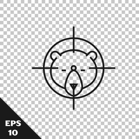 Black line Hunt on bear with crosshairs icon isolated on transparent background. Hunting club   with bear and target. Rifle lens aiming a bear. Vector Illustration Vettoriali