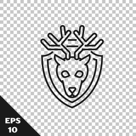 Black line Deer head with antlers on shield icon isolated on transparent background. Hunting trophy on wall. Vector Illustration