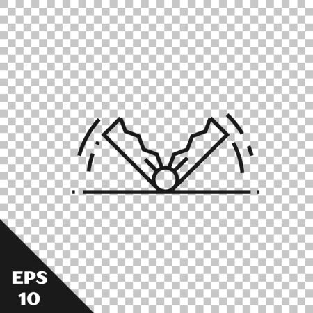 Black line Trap hunting icon isolated on transparent background. Vector Illustration Archivio Fotografico - 128934705