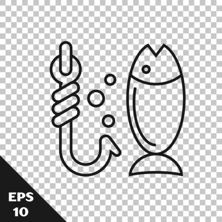 Black line Fishing icon isolated on transparent background. Fish and hook. Strategy concept. Bait sign. Vector Illustration