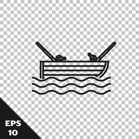 Black line Fishing boat with fishing rod on water icon isolated on transparent background. Vector Illustration