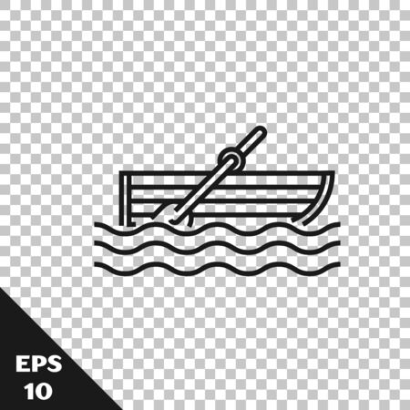 Black line Fishing boat with oars on water icon isolated on transparent background. Vector Illustration Illustration